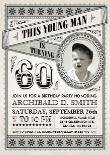 ba854dd2a Vintage Milestone Birthday Invitations Your Photo