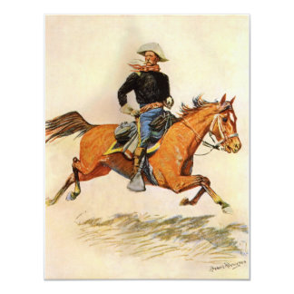 Vintage Military, A Cavalry Officer by Remington 11 Cm X 14 Cm Invitation Card