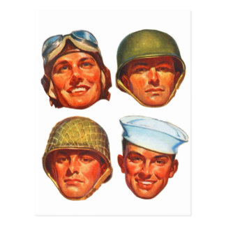 Vintage Military Army Navy Marines Airforce Men Postcard