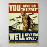 Vintage Military Give'em Hell Poster