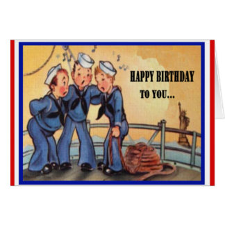 Vintage Military Navy Birthday Card