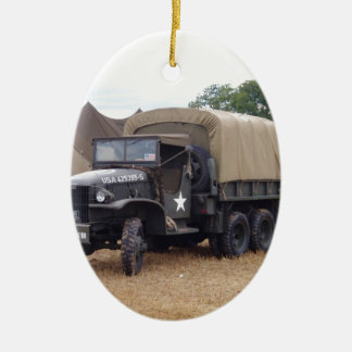 Vintage Military Truck Ceramic Ornament