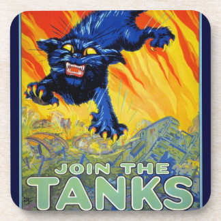 Vintage Military War Advertising with a Wild Cat Drink Coaster