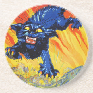 Vintage Military War Advertising with a Wild Cat Drink Coasters