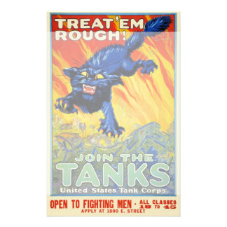 Vintage Military War Advertising with a Wild Cat Stationery Paper
