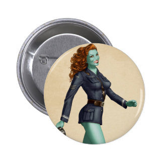 Vintage Military Zombie Pinup Girl 6 Cm Round Badge