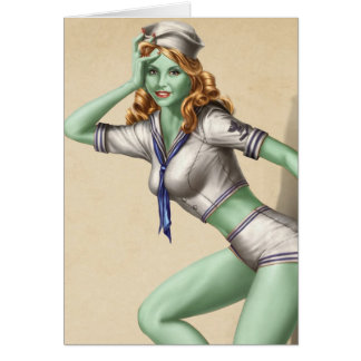 Vintage Military Zombie Pinup Girl Card