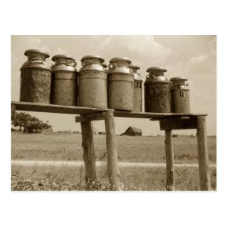 Vintage Milk Cans Postcard