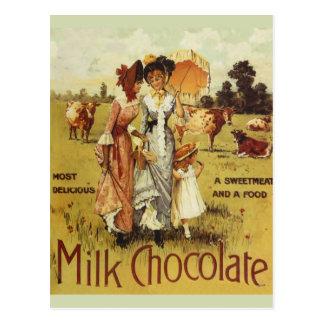 Vintage Milk Chocolate Cow Party Postcard
