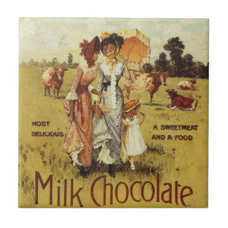 Vintage Milk Chocolate Cow Party Small Square Tile