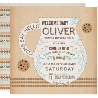Vintage Milk & Cookies Baby Shower Invitation