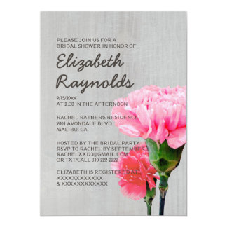 Vintage Mini-Carnation Bridal Shower Invitations