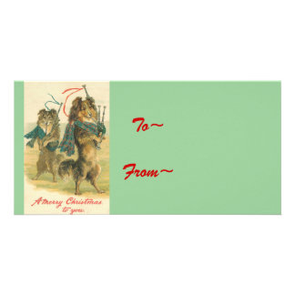 Vintage *Mini Collie* Merry Christmas! Personalized Photo Card