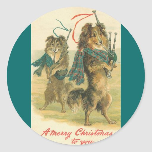 Vintage *Mini Collie* Merry Christmas! Stickers