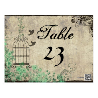 Vintage Mint Green Birdcage Table Numbers Postcard