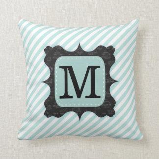 Vintage Mint Green Stripes Pattern Black Monogram Cushion