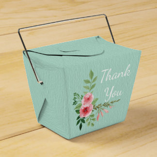 Vintage Mint Green Thank You Pink Rose Flowers Favour Box