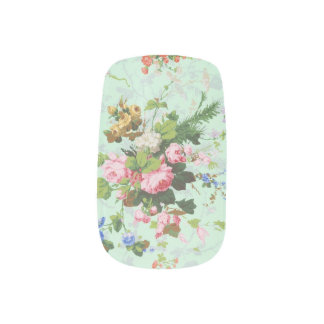 Vintage mint shabby floral chic rose flower patter minx nail art