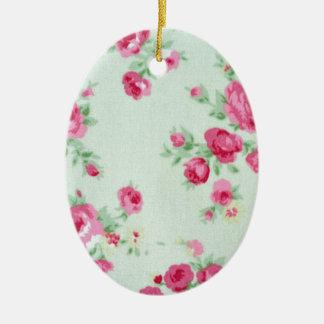 Vintage Minty Rose Ceramic Oval Decoration