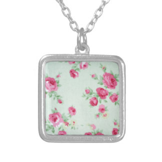 Vintage Minty Rose Silver Plated Necklace