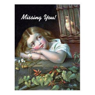 Vintage Missing You Postcard