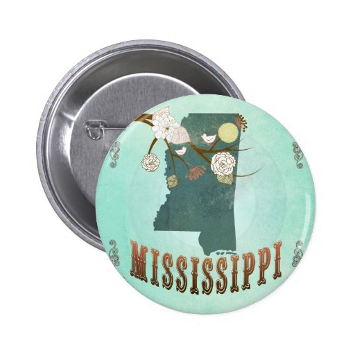 Vintage Mississippi State Map – Turquoise Blue Buttons