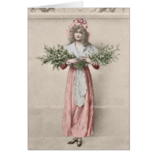 Vintage mistletoe holly girl Christmas Card