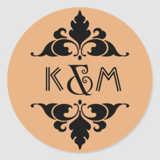 Vintage Modern Art Deco Black Gold Monogram Round Sticker