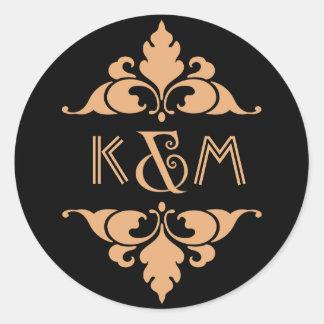 Vintage Modern Art Deco Gold & Black Monogram Classic Round Sticker