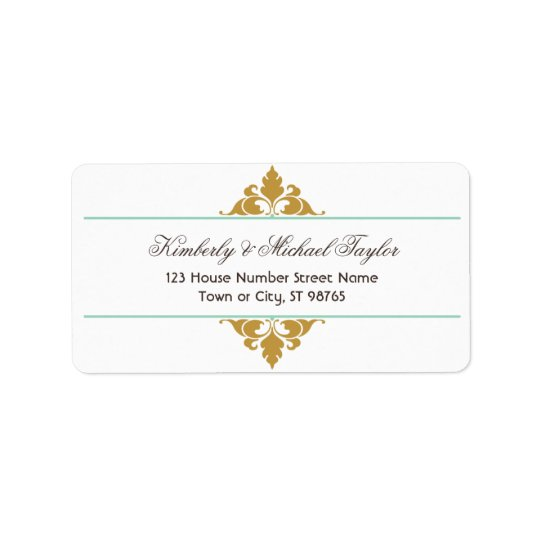 Vintage Modern Art Deco Mint & Gold Wedding Label