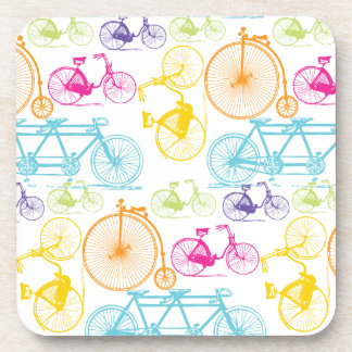 Vintage Modern Bicycle Bright Color Neon Pattern Coaster