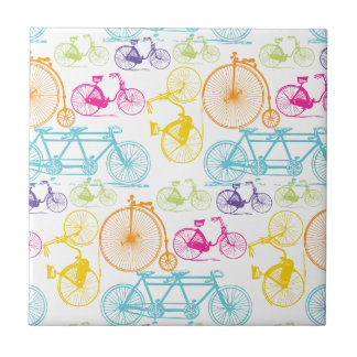 Vintage Modern Bicycle Bright Color Neon Pattern Small Square Tile