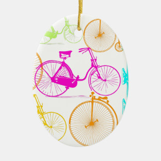 Vintage Modern Bicycle Bright Colour Neon Pattern Ceramic Ornament