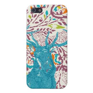 Vintage Modern Floral Deer Plum Aqua Coral iPhone 5/5S Case