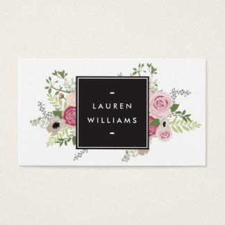 Vintage Modern Floral Motif Makeup Artist Beauty Business Card