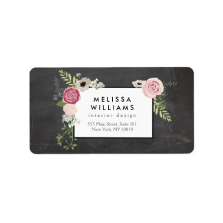 Vintage Modern Floral Motif on Chalkboard Designer Address Label
