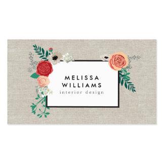 Vintage Modern Floral Motif on Linen Designer Pack Of Standard Business Cards