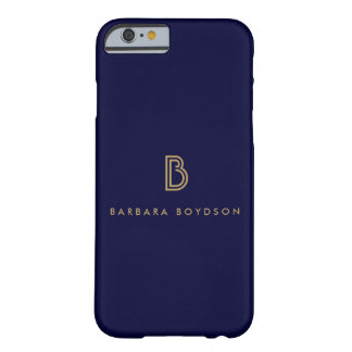 VINTAGE MODERN GOLD and NAVY INITIAL MONOGRAM LOGO Barely There iPhone 6 Case