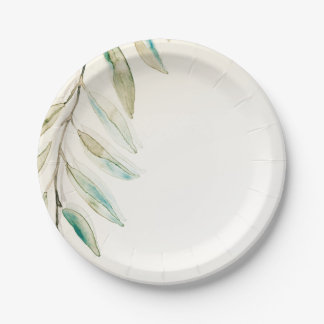 Vintage Modern Greenery Eucalyptus Leaves Wedding Paper Plate