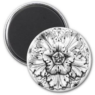 Vintage Modern Leafy Flower 6 Cm Round Magnet