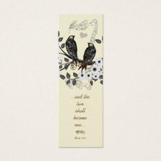Vintage Modern Love Bird Wedding Tags Mini Business Card