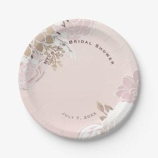 Vintage Modern Pink & Gold Rustic Floral Wedding Paper Plate