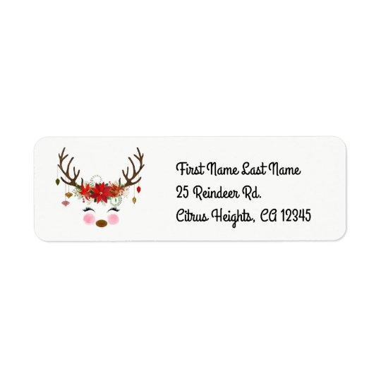 Vintage Modern Reindeer Floral Holiday Rustic Return Address Label