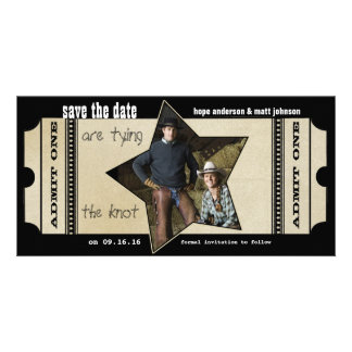 Vintage Modern Theater Ticket Save the Date Photo Card