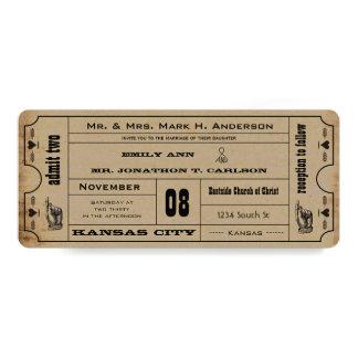Vintage Modern Typography Ticket Wedding Invite