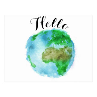vintage modern watercolor earth world postcard