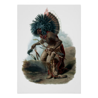 Vintage Moenitarri Warrior in Costume Poster