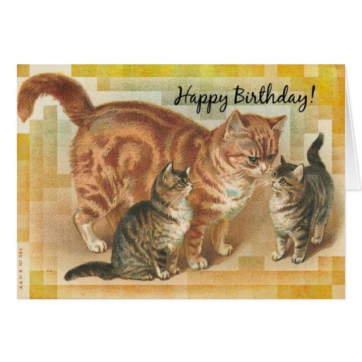 Vintage Momma Cat and Kittens, Birthday Cards