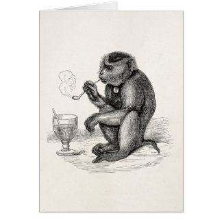 Vintage Monkey Smoking a Pipe Monkeys  Animal Card