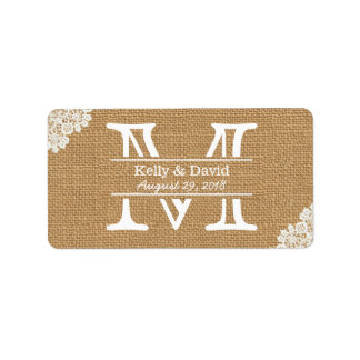 Vintage Monogram Burlap & Lace Rustic Wedding Address Label